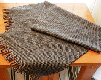 Vintage Pendleton Wool Scarf Gray, Brown and White Small check Pattern 50 1/4 by 13 Inches in Size    01012