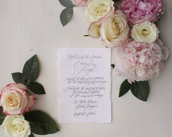 Full Custom Calligraphy Wedding Invitation in Black, Grey, Navy, Blush, or Sand // Available in Letterpress or Gold Foil