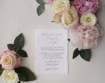 Full Custom Calligraphy Wedding Invitation in Black, Grey, Navy, Blush, or Sand // Available in Letterpress or Gold Foil