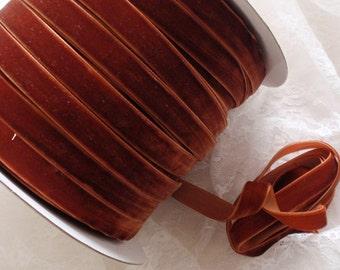 5 Yards Velvet Ribbon in Copper  (1/2 inch) S-12-114