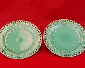 Pair of Green Basketweave Pattern Plates C. 1880