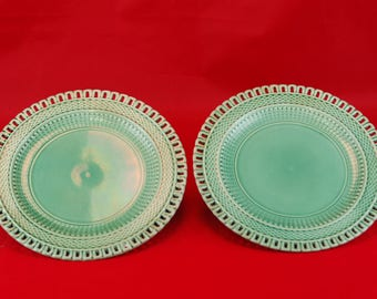 Pair of Green Basketweave Pattern Plates C. 1880  sc 1 st  Etsy & Basketweave ceramic | Etsy