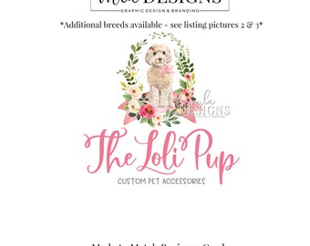 Dog Logo - Labradoodle Logo, Puppy Logo, Pet Sitter Logo, Boutique Watercolor Logo, Premade Logo, Custom Animal Logo, Premade Dog Logo