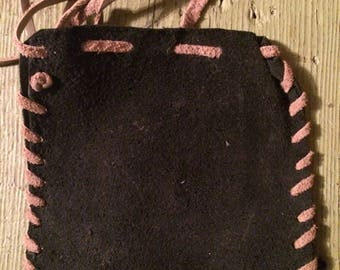 blue leather change purse primitive