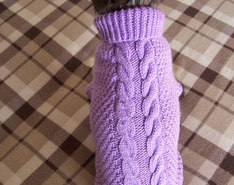 Dog Sweater. Cable-Turtleneck sweater for SMALL Dog handknitted in color you like. Wool blend knitted dog sweater. Made to order dog sweater