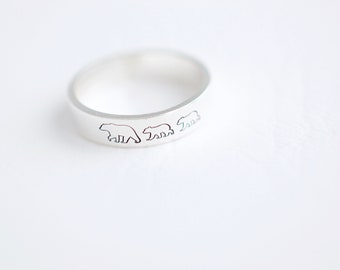 Mama Bear and Cubs Ring - Sterling Stacking Ring - Gift for Mom - Mom Jewelry