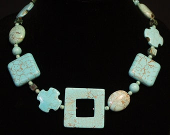 Turquoise Squares with Crosses necklace