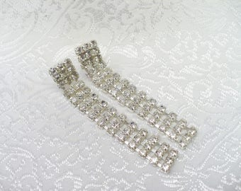 Vintage Repurposed Rhinestone Chain Earrings - silver tone metal - Pierced ears with post backs - vintage repurposed - upcycled RHINESTONE