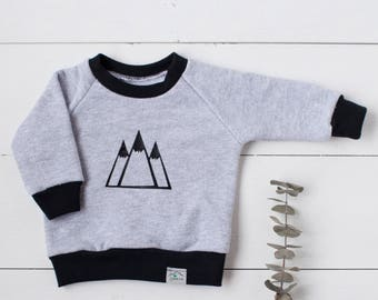 Baby sweatshirt, toddler sweatshirt, organic baby clothes, mountain peaks