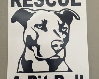 Pit Bull Rescue Sticker - Decal Vinyl Stickers Animal Rescue
