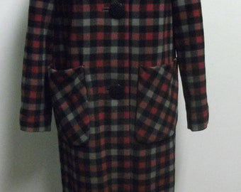 Vintage 1960's Wool Plaid Coat
