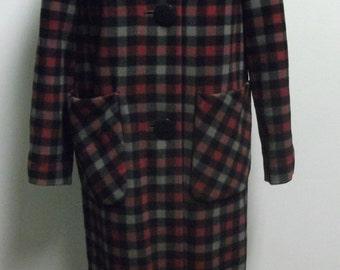 Vintage 1960's Wool Plaid Coat