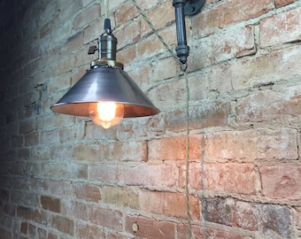Items similar to hanging pendant wall sconce retro edison lamp industrial style sconce pendant lamp metal shade edison bulb wall light aloadofball Gallery
