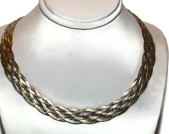 Vintage Sterling Woven Herringbone Necklace 18 inches