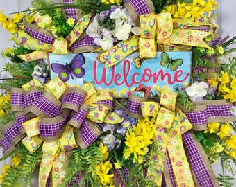 SALE** Spring and Summer Butterfly Yellow and Purple Mesh Door Wreath WAS 130.00