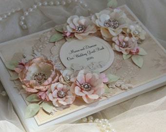 Blush pink wedding guest book, shabby chic, vintage wedding decorations, personalised wedding guestbook - Guest book and sign set