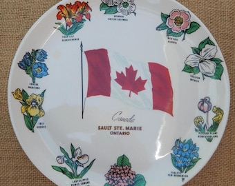 Canada Collectible Plate  ~  Canada Sault Ste. Marie Ontario Collectible Plate  ~  Canada Collectors Plate Made in Canada ~ Canadian Flowers