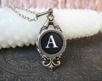 Typewriter Key Jewelry - Typewriter Necklace - Letter A  - Typewriter Charm - Vintage Key - Ornate Drop