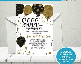 Surprise party invitation, Shhh surprise party invitation, Surprise Birthday Party Invitation, Custom Birthday Party Invitation