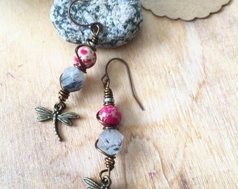 Gemstone Earrings. Dragonfly Crystal earrings. Rutilated Quartz Earrings Jasper beads. Healing earrings. Nature earrings, Long earrings