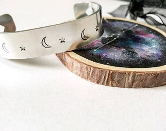 MOON & STARS, Cuff Bracelet, Handstamped, Heart, Jewellery, Gift for Her, Valentines Day, Love, Mothers Day, Birthday, Game of Thrones