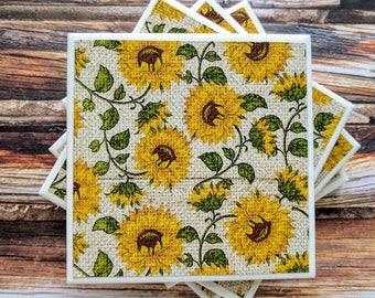 Sunflower Ceramic Coasters, Rustic Farmhouse Sunflowers, Sunflower Home Decor, Sunflower Host Gift, Summer Flower Coasters, Kitchen Coasters