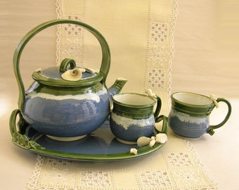 Hand Thrown Porcelain Tea Set, Gallery Pottery, Emerald Green, Lake Blue