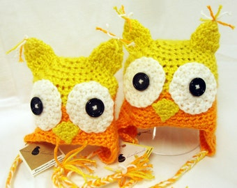Bright and cheerful owl hat - 3 mo. to 6 mo. baby,  yellow and orange