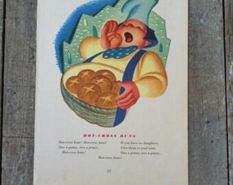 hot cross buns vintage nursury rhyme book page print