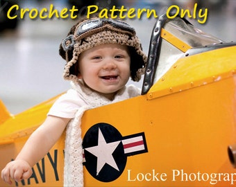 Aviator Costume - Crochet Hat, Goggles and Scarf - Crochet Pattern