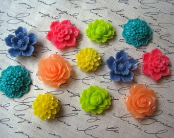 Refrigerator Magnets, 12 pc Flower Magnets, Tropical Colors, Cute Office Supply, Housewarming Gifts, Hostess Gifts, Wedding Favors