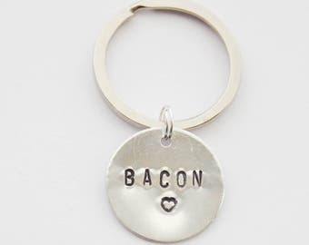 Bacon keychain, Bacon key ring, Bacon Jewelry, Bacon Gifts, Bacon Pendant, Hand-stamped Keychain, Bacon Lover gift, Bacon Purse charm