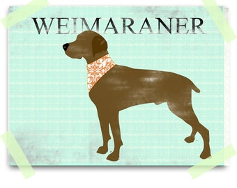 Weimaraner  art -  Fine art print , dog lover, dog art, brown, silhouette