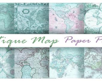 Antique BLUE WORLD MAPS - Digital Paper Pack - 8 Maps -Instant Download Digital Printable Papers  - DiY