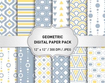 "Geometric Digital Paper: ""Geometric Pattern Digital"" with Gray and Yellow Pattern, Digital Scrapbook Paper, Geometric Background"