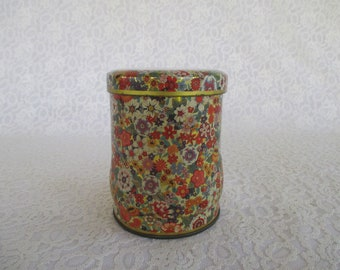 Vintage Flowered Tea Tin Made In England