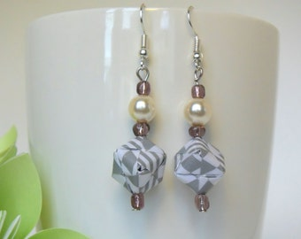 earring - grey and white folded paper and white pearl