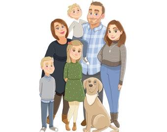 Custom Family Digital Portrait FULL BODY