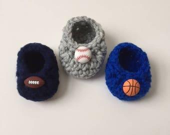 Sports baby booties, baby booties, baseball baby shoes, football baby booties, booties for baby, basketball baby booties