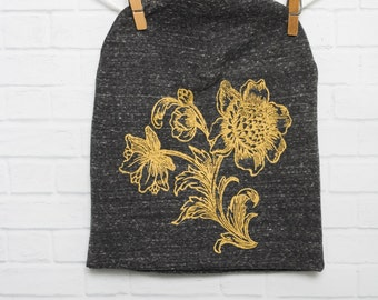 Gold Sunflowers Beanie Slouch Hat Charcoal Flowers Unisex Organic Cotton Knit Hat Screen Printed with Eco-Friendly Ink