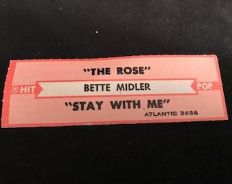 BETTE MIDLER The Rose / Stay With Me = VINTAGE Rock / Pop jukebox 45 strip 1979