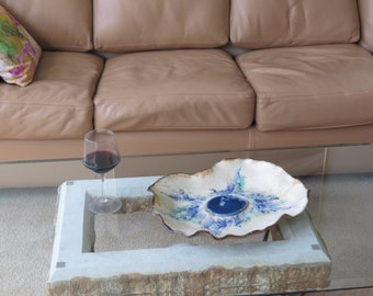 Blue Agate Centerpiece  Ceramic Art Tray Large Free Form  Decorative Clay Dish Textured Pottery Vessel Rustic Home Decor Contemporary