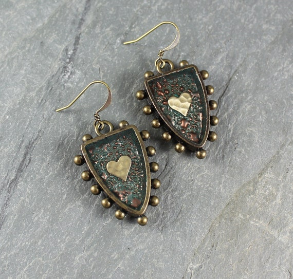 Bohemian Chic ~ Rustic Romantic ~ Heart ~ Shield earrings