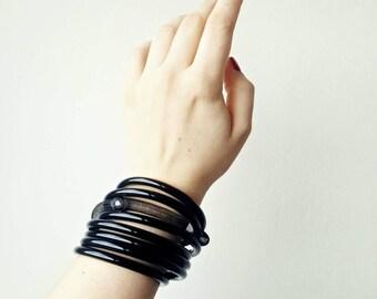 Black cuff bracelet Bold statement bracelet Spiral bracelet Contemporary jewelry Bangle bracelet Modern bracelet Avant garde bracelet.