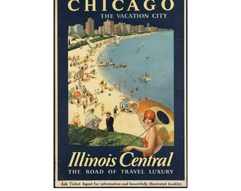 Instant Download - Vintage Travel Poster - Chicago The Vacation City, Illinois Central, Beach, Art Deco