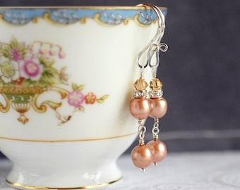 Pearl Drop Earrings Swarovski Crystal & Freshwater Pearl Earrings Peach Pink Champagne Sterling Silver Earrings Mother of Bride Gift for Her