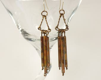 silver and copper dangle earrings, sterling silver mixed metal earrings, copper drop earrings