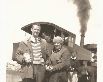"Vintage Photo ""Train Travel"" Steam Locomotive Railroad Train Conductor Black Smoke Found Vernacular Photo"