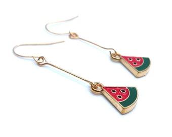 Watermelon Gold Dangle Earrings