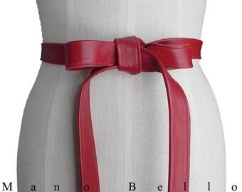 Women red belt, Red Leather Belt, jacket belt, Basic belt, Leather Strap belt, Minimalist belt, Basic Leather Tie Belt, Coat Belt, Sale